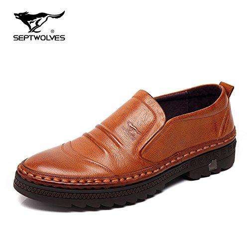 Aemember scarpe uomo scarpe invernali da uomo, testa rotonda, mette piede pigro persone Kicked Peddling scarpe casual spessa scarpe uomini e ,39, giallo