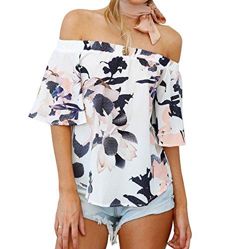 Silkgrace Women's Chiffon Flower Off Shoulder Blouse Short Sleeve Tops Shirt (L, P4)