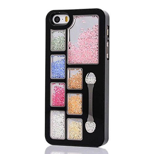 5s Case, iphone 5s Case, iphone 5s cover, ARTMINE Chic Art Cosmetic Make Up Cubes Bling Colorful Luxury 3D Moving Diamond Rhinestone Jeweled Sparkling Shell Durable Crystal Plastic Protective Snap On Durable Hard Back Case Cover [HD Screen Protector Gifted] Black