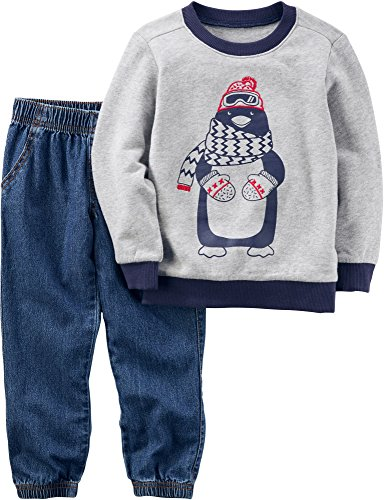 Carter's Baby Boys' 2 Piece Penguin Hoodie and Demin Joggers Set 6 Months Penguin Kids Hoodie