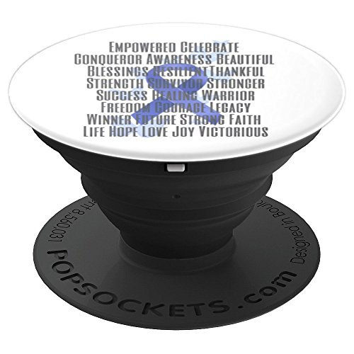 Empowered and Strong Blue Awareness Ribbon - PopSockets Grip and Stand for Phones and Tablets by Designs by Alondra