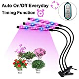 Plant Lamp Grow Light 3 Head Gooseneck Timing 36W 360° with 8 Dimmable Levels, 4/8/12 H Timer for Indoor Greenhouse Gardening Plants by Domserv [2018 Upgraded]