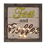 Kitchen Decor Wall Art Tea and Coffee Wood Wall Decor with LED lights