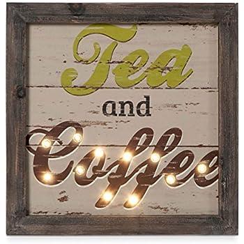 Kitchen Decor Wall Art Tea And Coffee Wood Wall Decor With LED Lights
