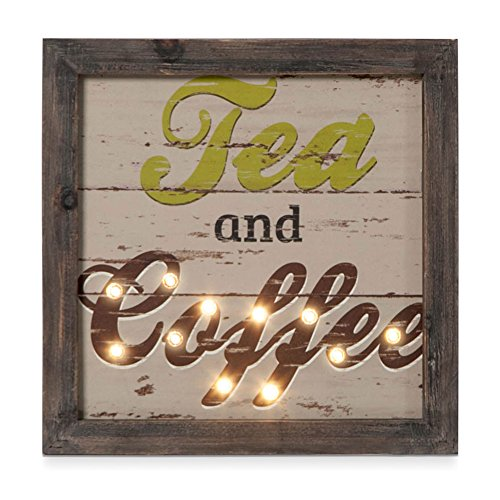 Kitchen Decor Wall Art Tea and Coffee Wood Wall Decor with LED lights (Wine Art Wall Decor Led Lights compare prices)