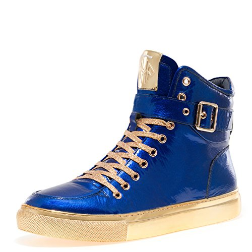 - Jump Newyork Men's Sullivan Round Toe Hand-Painted Leather Lace-Up Inside Zipper and Strap High-Top Sneaker Blue Patent 8 D US Men