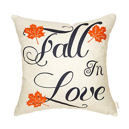 Fahrendom Fall in Love Maple Leaves Autumn Sign Wedding Engagement Lover Gift Cotton Linen Home Decorative Throw Pillow Case Cushion Cover with Words for Sofa Couch 18 x 18 in
