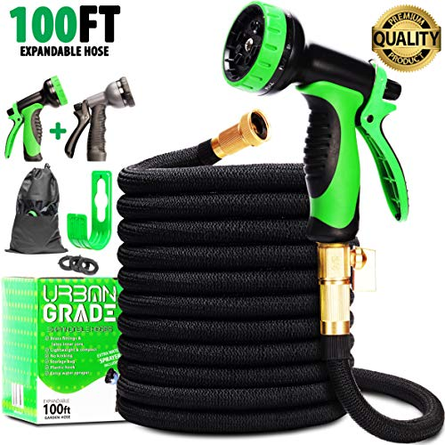 Expandable 100ft Garden Hose | Superior Strength Heavy Duty Water Hose 100ft | New 2020 Retractable Non Kink Flexible Black Hose | Solid Leak Proof 3/4 Inch Brass Connectors |10 Function Sprayer