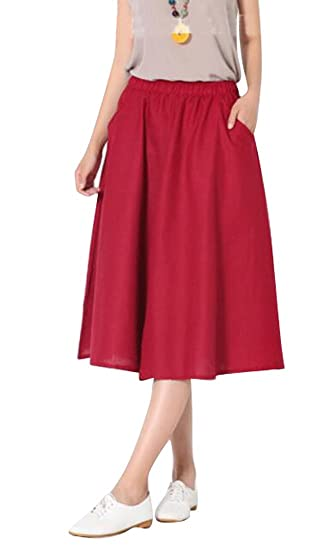 43283089d6 ARTFFEL-Women Casual Solid Cotton Line Elastic Waist Ruched Midi Skirts  with Pockets 1 OS at Amazon Women's Clothing store: