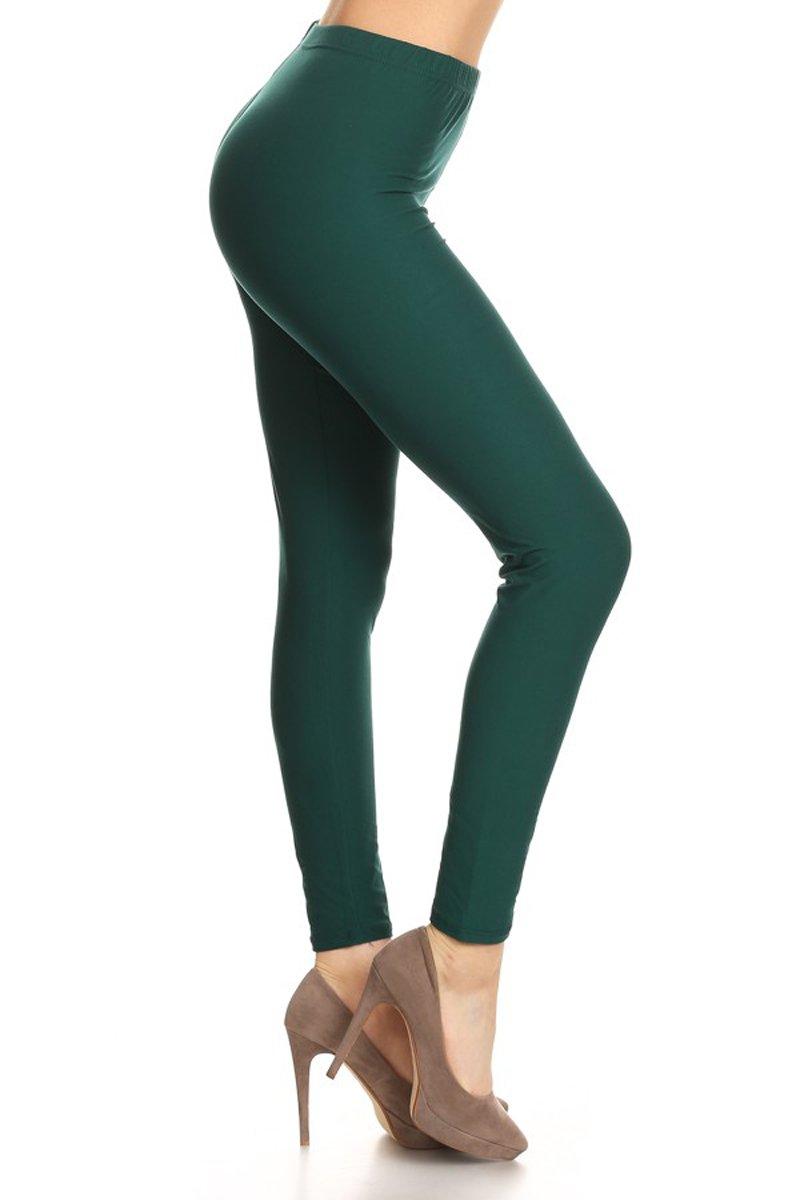 Leggings Depot Ultra Soft Basic Solid Plain Best Seller Leggings Pants, Plus Size (Size 12-24), Forest Green by Leggings Depot
