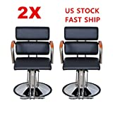 2pcs 20'' Wide Hydraulic Barber Chair Styling Salon Beauty Equipment - Black