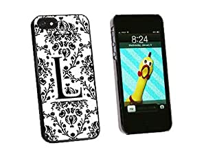 phone covers Graphics and More Letter L Initial Damask Elegant Black White Snap-On Hard Protective Case for iPhone 5c - Non-Retail Packaging - Black