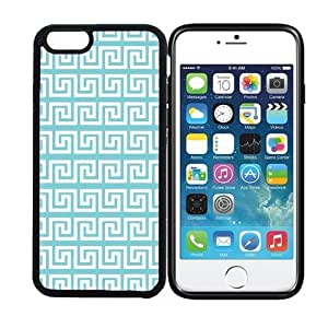 iPhone 6 (4.7 inch display) RCGrafix Greek Pattern - Aqua - Designer BLACK Case - Fits Apple iPhone 6- Protected Cell Phone Cover PLUS Bonus Iphone Apps Business Productivity Review Guide