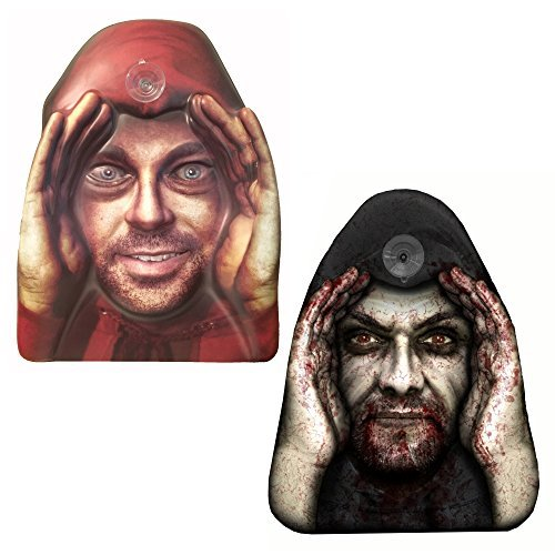 2-Pack Scary Peeper Window Cling - Original and Zombie Peeping Tom Shocking Pranks Combo Set, Creepy Halloween Decorations]()