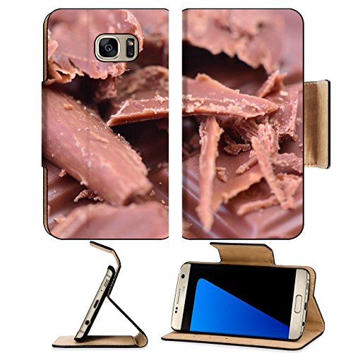Stripes Personalized Chocolate (Luxlady Premium Samsung Galaxy S7 EDGE Flip Pu Leather Wallet Case IMAGE ID 27751030 Chocolate)