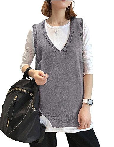 V Asym Sans Gilet Femme Casual Tricot Col Manches YvqYZxwF