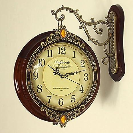 Salón de estilo europeo Breguht Reloj de pared de madera antiguos dos grandes doble silencio del ...