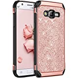 Galaxy J7 Case,J700 Case,BENTOBEN Shockproof Luxury Glitter Bling Slim 2 in 1 Hybrid Hard Cover with Sparkly Shiny Faux Leather Chrome Protective Phone Case for Samsung Galaxy J7 J700 (2015),Rose Gold
