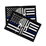 Police Law Enforcement American Punisher Morale Patch / USA American Flag Tactical Patch for Molle Backpacks and Operator Hats 2-Pack Bundle (AP Thin Blue Line, 2-Pack, 2' x 3')
