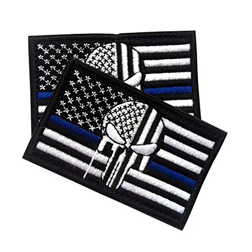 (Police Law Enforcement American Punisher Morale Patch / USA American Flag Tactical Patch for Molle Backpacks and Operator Hats 2-Pack Bundle (AP Thin Blue Line, 2-Pack, 2