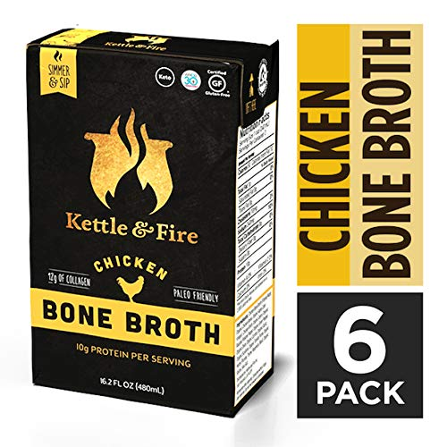 Chicken Bone Broth Soup by Kettle and Fire, Keto Diet, Paleo Friendly, Whole 30 Approved, Gluten Free, with Collagen, 10g of protein, 16.2 fl oz (Pack of 6)