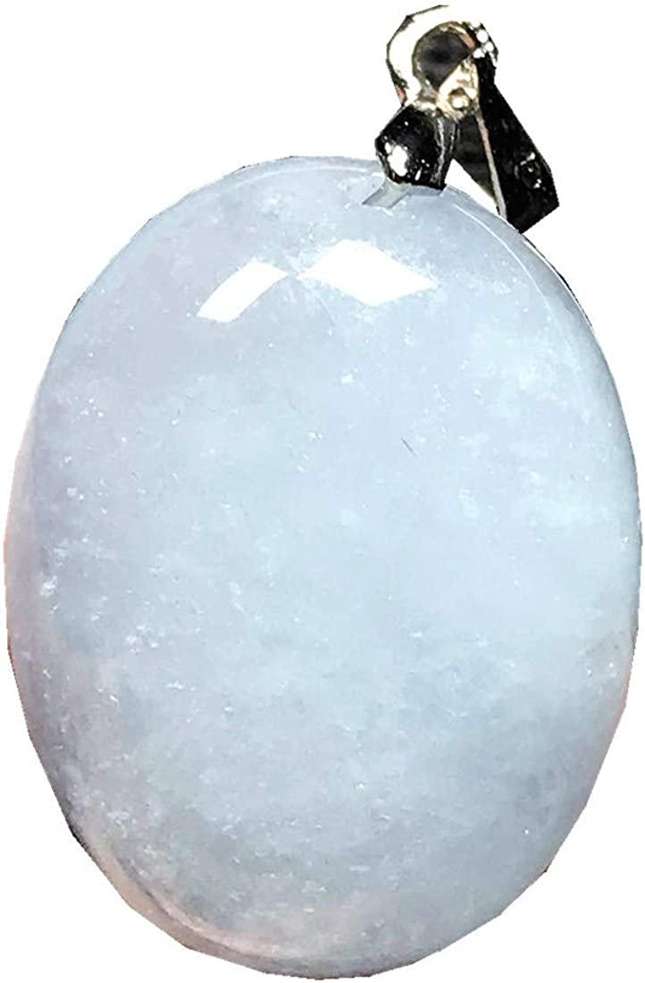 DUOVEKT Natural Blue Aquamarine Necklace Pendant for Woman Man Crystal 22x17x9mm Oval Beads Stone Jewelry