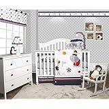 GEENNY OptimaBaby Animal Sports Festival 6 Piece Baby Boy Nursery Crib Bedding Set