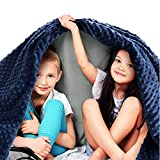 Quility Premium Kids Weighted Blanket & Removable Cover | 10 lbs | 41'x60' | for a Child Between 90-120 lbs | Single Size Bed | Premium Glass Beads | Cotton/Minky | Grey/Navy Blue
