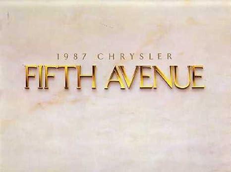 Amazon com: 1987 Chrysler Fifth Avenue Sales Brochure