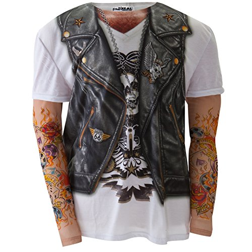 Faux Real - Mens Biker with Tattoos Costume Long Sleeve - Small Multi