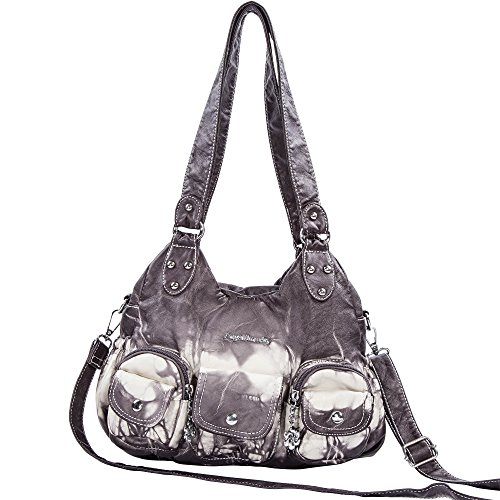 Angelbarcelo Soft Roomy Fashion Hobo Womens Handbags Ladies Purses Satchel Shoulder Bags Tote Washed Leather Bag (XS161497 Gray) by Angelbarcelo