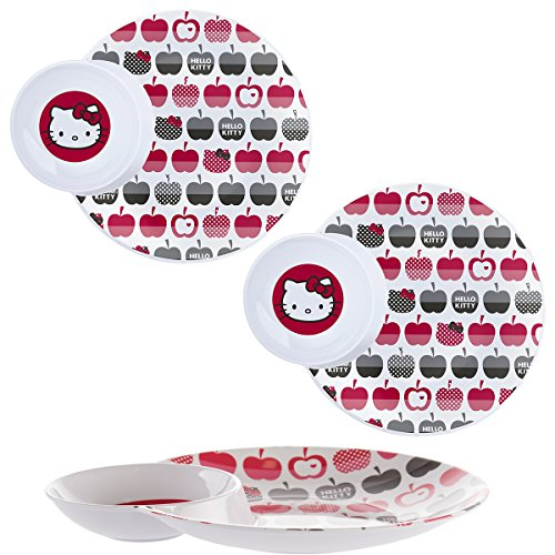 Hello Kitty (3 Pack) Divided 2-Section Plate With Bowl Kids Tableware Melamine Dishes]()