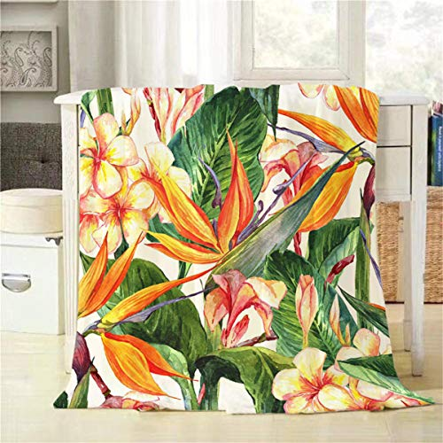 Mugod Tropical Flowers Throw Blanket Seamless Exotic Floral Pattern Bird of Paradise Decorative Soft Warm Cozy Flannel Plush Throws Blankets for Bedding Sofa Couch 50 X 60 ()