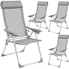6 pièces position Chaise Chaise pliante Dossier Haut Aluminium 7 positions argent//anth.