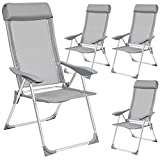 TecTake Set of 4 Aluminium folding garden chairs adjustable with armrests gray