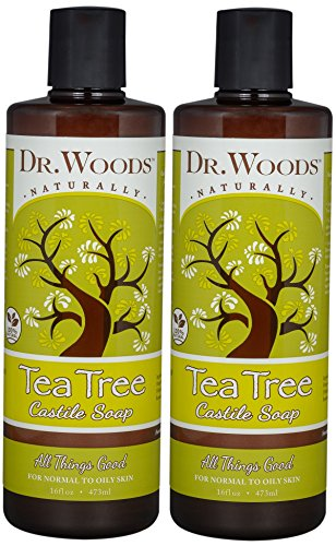 Dr. Woods Pure Tea Tree Liquid Castile Soap, 16 Ounce (Pack of 2)
