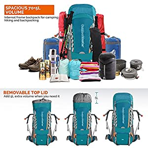 OutdoorMaster 70L + 5L Hiking Backpack - Internal Frame with Waterproof Cover (Blue)