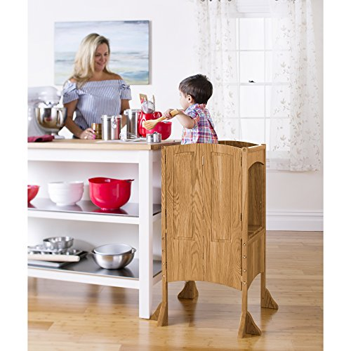 Guidecraft Heartwood Kitchen Helper - Solid Oak: Wood Adjustable Height Cooking Step Stool Tower For Children - Kids Furniture by Guidecraft