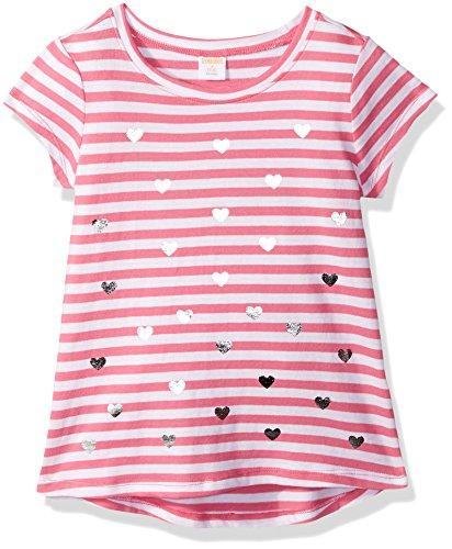 Gymboree Big Girls' Short Sleeve Printed Tee, Pink/White, M