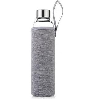 LAAT Botella de vidrio Botella deportiva Botella transparente con bolsa de nylon protectora 550ml