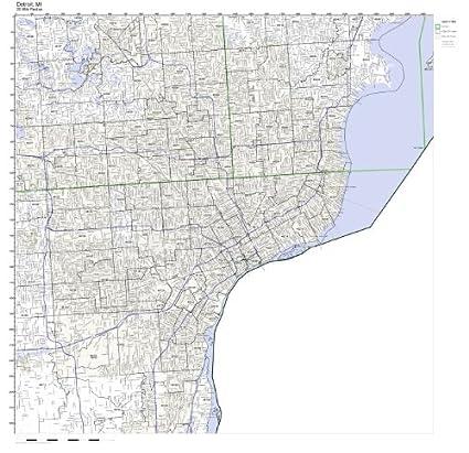 48201 Zip Code Map.Amazon Com Detroit Mi Zip Code Map Not Laminated Home Kitchen