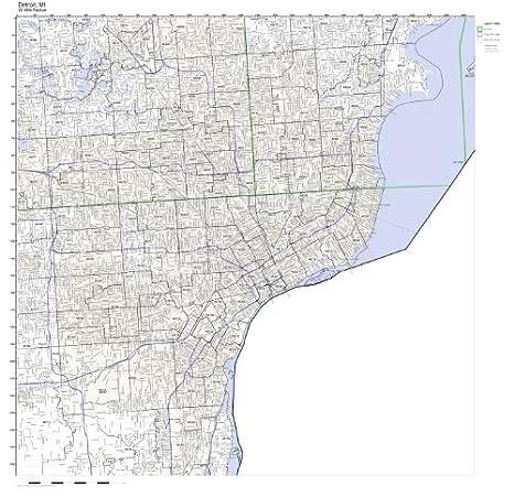 Amazon.com: Detroit, MI ZIP Code Map Not Laminated: Home & Kitchen on