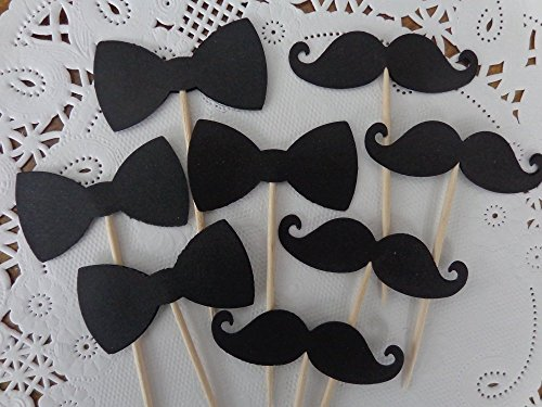 Black Bowtie and Mustache Cupcake Toppers - Food Picks - Appetizer Picks (Set of 24 (Bow Ties And Mustaches Baby Shower)