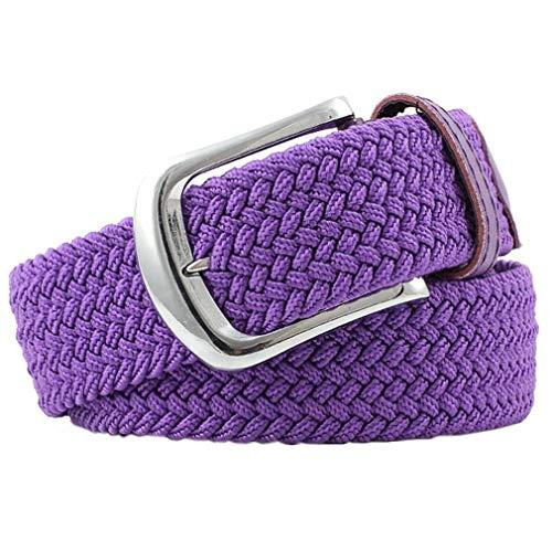 Bigood Womens All-match Stretch Belt Canvas Elastic Braided Woven Belts Purple