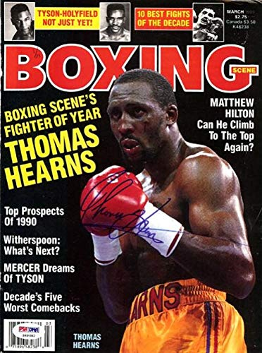 "Thomas""Hit Man"" Hearns Autographed Boxing Scene Magazine Cover #S49082 PSA/DNA Certified Autographed Boxing Magazines"