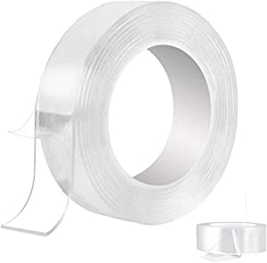 Sticky Nano Tape Roll Transparent - Traceless Washable Strong Adhesive Gel Grip Trip Tape Clear Anti Slip Removable Reusable for Home Wall Room Office Décor 16.5 and 3.28 Ft by BOBOCAWA