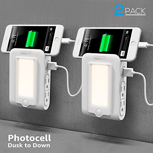 (2 PACK Wall Mount Outlet with Dusk to Dawn LED Night Light, 2 USB Ports & 4 AC Outlets Charging Station, Surge-protected Power Socket Extender with Phone Holder)