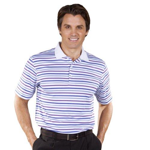 Monterey Club Mens Dry Swing Multi Color Layer Stripe Jersey Polo Shirt #1639 (White/Klein - Stripe Polos Jersey Multi Color