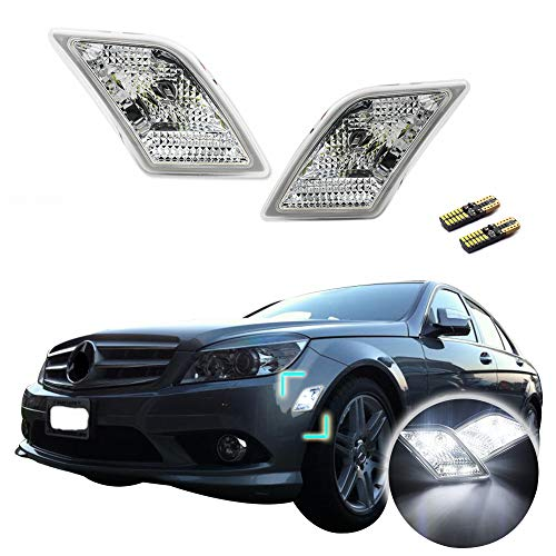 GTINTHEBOX CAN-bus Error Free Clear Lens Covers Fender Side Marker Lamps with Pure White LED Lights For 2008-2011 Mercedes Benz W204 C250 C300 C350 & 2008-2013 C63 AMG