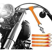 Badass Moto Gear Super Premium Motorcycle Tie Down Straps Kit - Heavy Duty – For Powersports Towing – Motorcycles, Bikes, Trikes, ATV, UTV, Trailer, Truck (4 Pack Softloops, Orange)